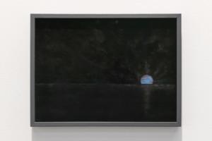 Glenda León, Cuerpos Celestes: El nacimiento de un Sol azul, 2019, Butterly wing dust and wing fragment on velvet, 24 x 32.5 cm