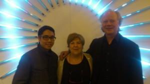 Chus Roig en compañía de los artistas James Clar y Ola Kolehmainen, Arco Madrid 2012.