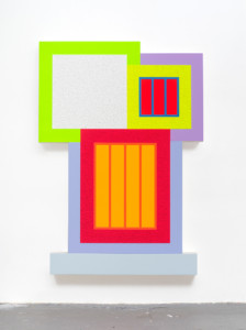 Peter Halley, Surge (2020) Day-Glo Acrylic, Acrylic and Roll-a tex on canvas, 198 x 140 cm (SOLD)