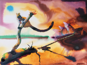 "Alexis Rockman, "" Sydney Harbor"", 2020, watercolor and acrylic on paper, 46 x 61cm"