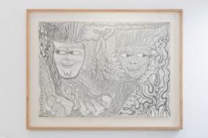 """Evru / Zush, """"Naga Gleds"""", 2020, graphite on paper, 24.7 x 9.7cm"""