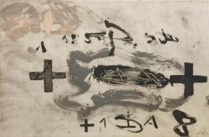 Antoni Tàpies, LLULL XXXIV, 1986, Técnica mixta sobre papel, 36 x 50 cm