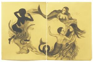El viaje de Olokun. Lápiz y acuarela sobre papel / Baño de cera. 76 x 112 cm. 2013